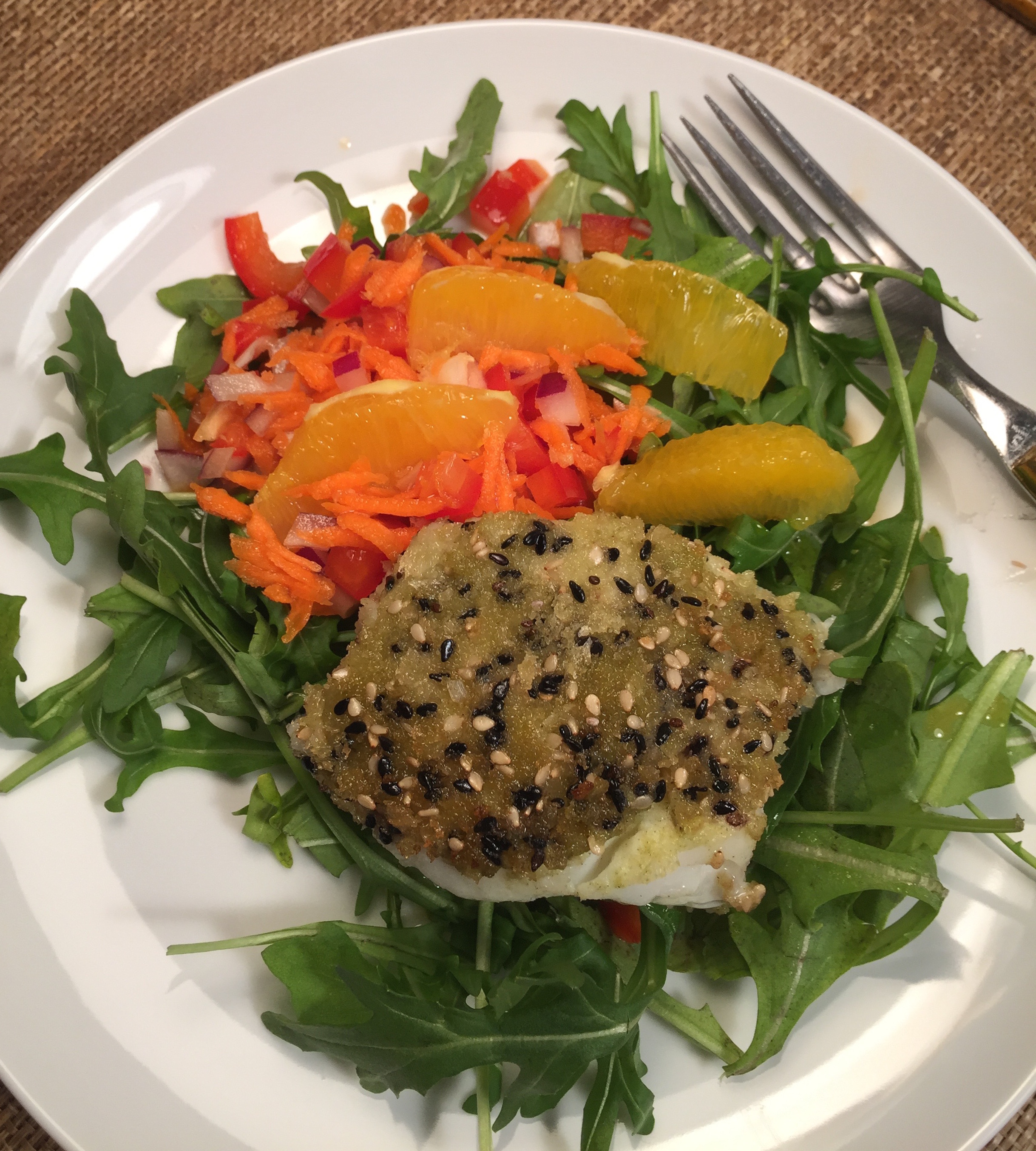 Wasabi cod with salad