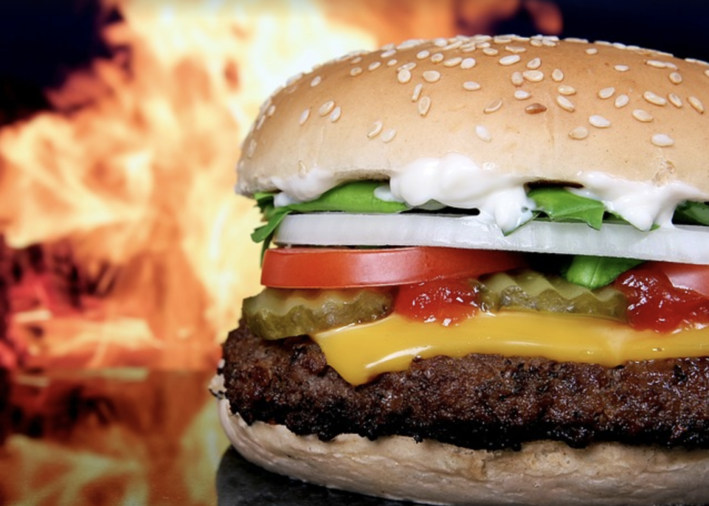 grilled, processed burger